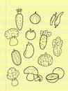 Freehand drawing vegetables on yellow paper Royalty Free Stock Photo