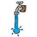 Freehand drawn cartoon running faucet Royalty Free Stock Photo
