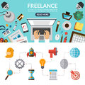 Freelance concept background banner in flat style with set of business marketing icons top view on desktop vector illustration Stock Image