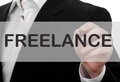 Freelance concept man wearing suit writing word Stock Images
