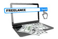 Freelance concept modern laptop with money and search on a white background Royalty Free Stock Image