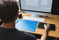 Freelance developer or designer working at home Stock Images