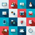 Freelance icon flat set with designer working at laptop time is money symbols isolated vector illustration Royalty Free Stock Photo