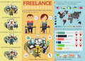 Freelance infographic statistics and data with chart . Freelancers workplace. Infographic elements. Vector Royalty Free Stock Photo