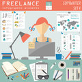 Freelance infographic template set elements for creating you own vector illustration Royalty Free Stock Image