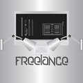 Freelance stylish image the word on a gray gradient background computer monitor and lamps illuminate the text Stock Images