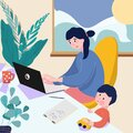 Freelance and telework. Cute happy mother working on laptop at home. Female freelance worker with child at workplace Royalty Free Stock Photo