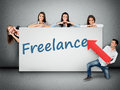 Freelance word on banner writing white Royalty Free Stock Photography