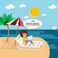 Freelance work anywhere and slow life. Royalty Free Stock Photo