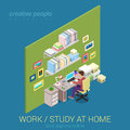 Freelance work and study at home flat d web isometric concept workplace infographic vector young male student teenager working Stock Photo