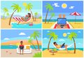Freelance Workers at Beach near Sea with Laptops Royalty Free Stock Photo