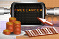 Freelancer abstract colorful background with a computer screen keyboard mouse cursor and an amount of money near the computer Royalty Free Stock Image