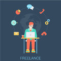 Freelancer with laptop freelance work flat vector infographic web concept young stylish man sitting working by the table global Stock Image