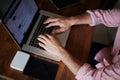 Freelancer man working with digital computer on beautiful website