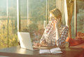 Freelancer Woman making Decisions Real Time at Sunny Patio House Royalty Free Stock Photo