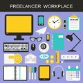 Freelancer workplace icons set with computer notebook calculator smartphone isolated vector illustration Stock Photography