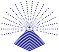 Freemason eye of providence illustration concept the all seeing god surrounded by rays light with a stepped pyramid Stock Photo