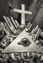 Freemason symbol the everything seeing eye at a historic tombstone Stock Photography