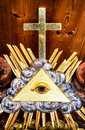 Freemason symbol the everything seeing eye at a historic tombstone Royalty Free Stock Photos