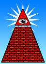 Freemason symbol with triangle wall and eye Royalty Free Stock Images