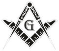 Freemasonry emblem masonic square compass symbol illustration Stock Photos