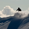 Freeride in Caucasus mountains Stock Photo
