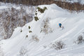 Freeride on kamchatka freerider going down the mountain of Royalty Free Stock Images