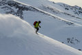 Freeride on kamchatka freerider going down the mountain Royalty Free Stock Photography