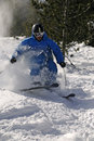 Freeride Skier in powder snow. Royalty Free Stock Images