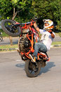 Freestyle biker was practicing with his bike in a public space in the city of solo central java indonesia Royalty Free Stock Photos