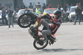 Freestyle the fans of motor sport with a exercise bike in solo central java indonesia Stock Images