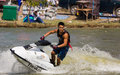 Freestyle the Jet Ski stunt action Royalty Free Stock Image