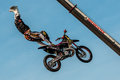 Freestyle motocross - high jump Royalty Free Stock Images
