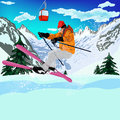 Freestyle skiing mountain extreme winter sport Royalty Free Stock Photo