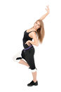 Freestyle stretchy woman dancer against white background Stock Photography