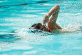 Freestyle swimming in a pool Royalty Free Stock Photography
