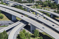 Freeway aerial sprawling suburban interchange in atlanta georgia Stock Photo