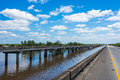 Freeway bridge over atchafalaya river basin in louisiana Royalty Free Stock Photo