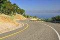 Freeway curves leading down to the sea of galilee israel Stock Photography