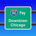 Freeway to chicago sign Royalty Free Stock Photo