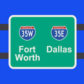Freeway to Dallas sign Stock Photos