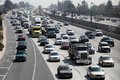 Freeway Traffic in Pasadena, California Stock Photo