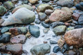 The freezed stones on coast of baltic sea a winter landscape Royalty Free Stock Images