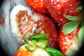 Freezer burned strawberries Royalty Free Stock Photography