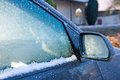 Freezing car is in winter time Stock Photos