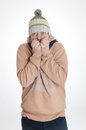 Freezing man cap scarf white background Stock Photos