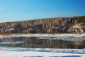 Freezing river in beginning of winter russia siberia Royalty Free Stock Photo