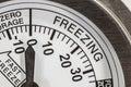 Freezing zone thermometer macro detail refrigerator Stock Image