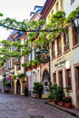 FREIBURG IM BREISGAU, GERMANY - May 17, 2017: old town street in Freiburg, a city in the south-western part of Germany in the Bade