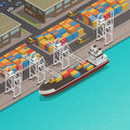 Freight Barges Harbor Wharf Isometric